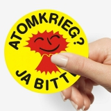 Atomkrieg - Ja bitte PVC Aufkleber 9,5 cm Waschstraßenfest